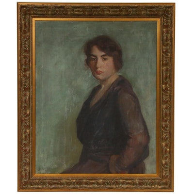 Jacob Richard Female Portrait Oil Painting, Early 20th Century