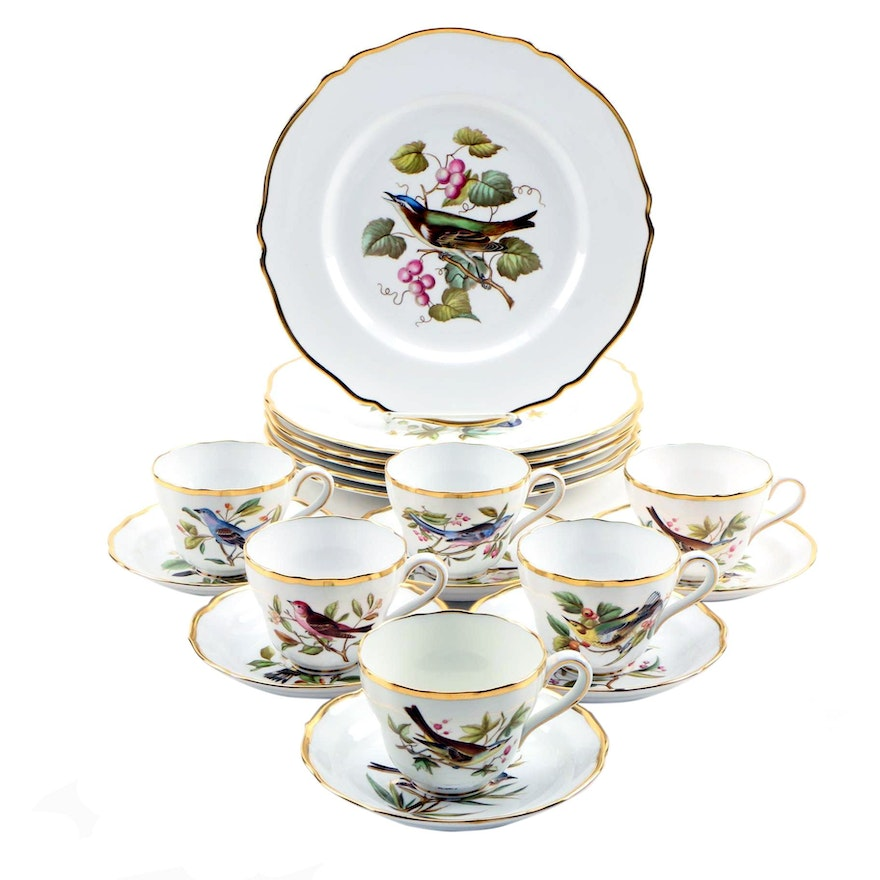 "Spode ""Audubon Birds"" Bone China Dinner Plates, Cups and Saucers for Six"