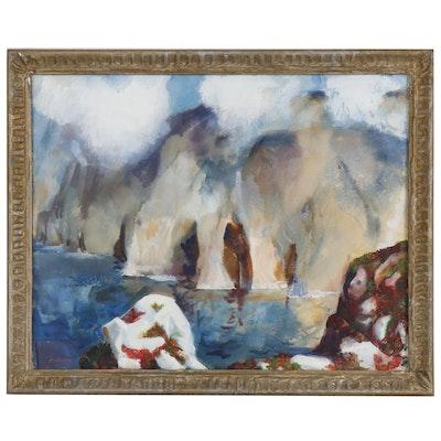 Reginald Leslie Grooms Landscape Gouache Painting