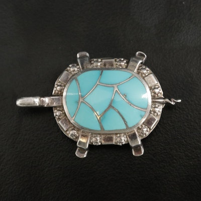 Chadd Zuni Sterling Silver Turquoise Turtle Brooch