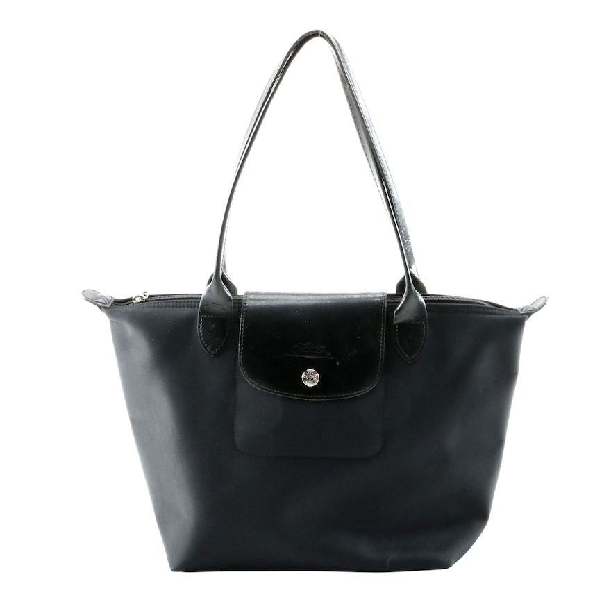 Longchamp Le Pliage Small Black Nylon and Leather Tote