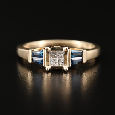 10K Gold Diamond and Sapphire Ring