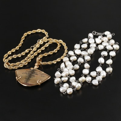 Cultured Pearl and Jasper Necklaces Including Sterling Silver