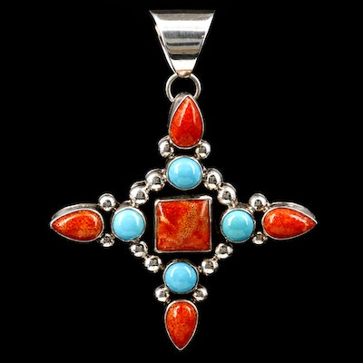 Southwestern Sterling Silver Turquoise and Coral Pendant