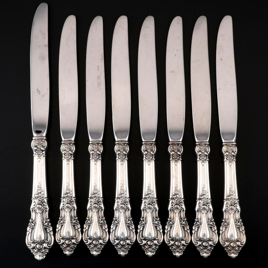 """Lunt """"Eloquence"""" Sterling-Handled Dinner Knives, Mid/Late 20th Century"""