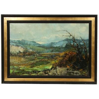 Mountain Landscape Impasto Oil Painting, Mid-20th Century