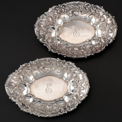 Pair of Meriden Britannia Co. Floral Sterling Nut Dishes, Late 19th/Early 20th C