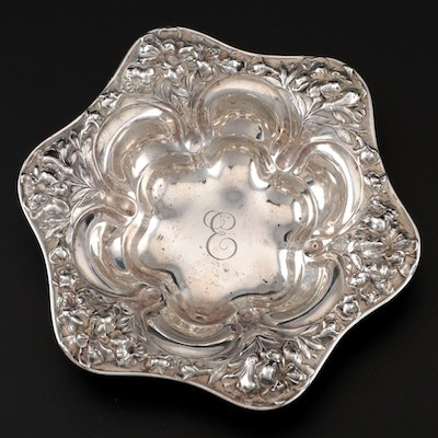 Meriden Britannia Co. Repoussé Lily Sterling Bowl, Late 19th/ Early 20th Century