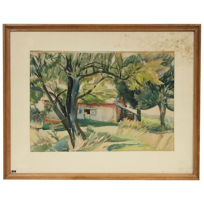 Landscape with Shack Watercolor Painting, Mid-20th Century
