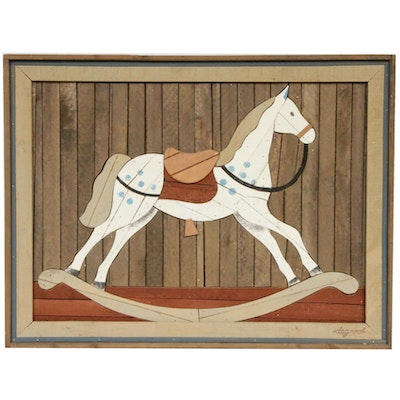Theodore DeGroot Rocking Horse Lath Art Wood Assemblage