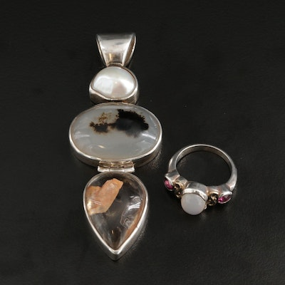 Starborn Sterling Silver Pendant and Ring with Assorted Gemstones