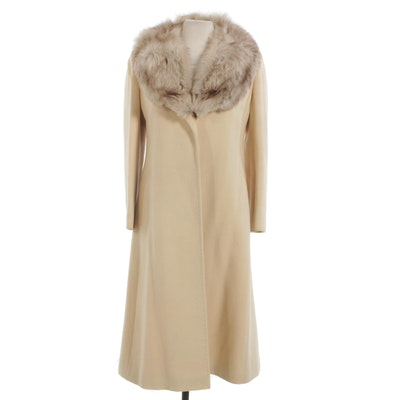 Regency Cashmere Open-Front Coat with Fox Fur Collar from Mano Swartz, Vintage