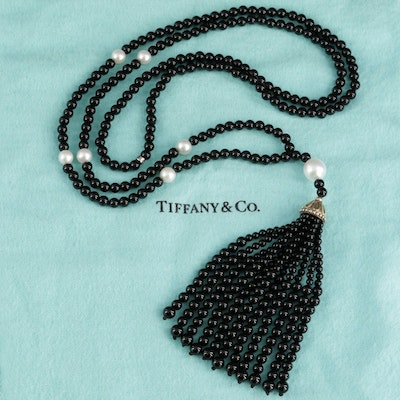 "Tiffany & Co. ""Ziegfeld"" Sterling Cultured Pearl and Black Onyx Necklace"