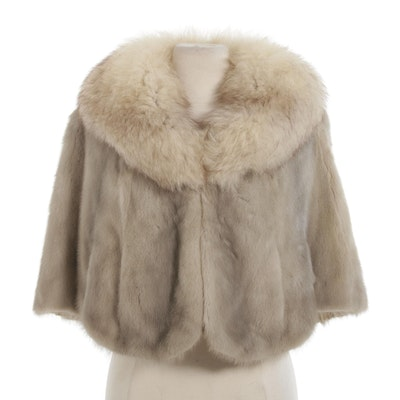Mink Fur Stole with Fox Fur Collar from Lazarus, Mid-20th Century