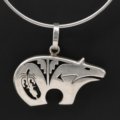 Bennie Ration Navajo Diné Sterling Silver Bear Pendant Necklace