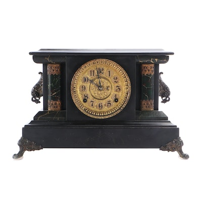 William L. Gilbert Victorian Style Ebonized Wood and Faux Marble Mantel Clock