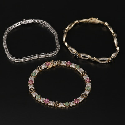 Sterling Silver Bracelets Including Emerald and Ruby