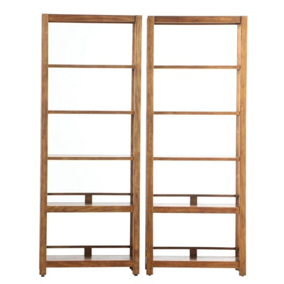 "Pair of Drexel ""Woodbriar"" Pecan Open Shelving Units, Late 20th Century"