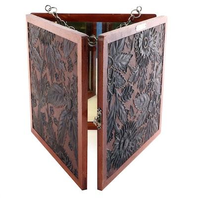 P. Wiederer Wood and Embossed Metal Triple Mirror, Late 19th Century