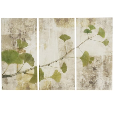Giclee Triptych of Ginko Branches and Leaves