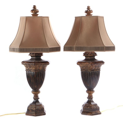 """Fine Art """"Castile"""" Table Lamps with Silk Shades, Contemporary"""