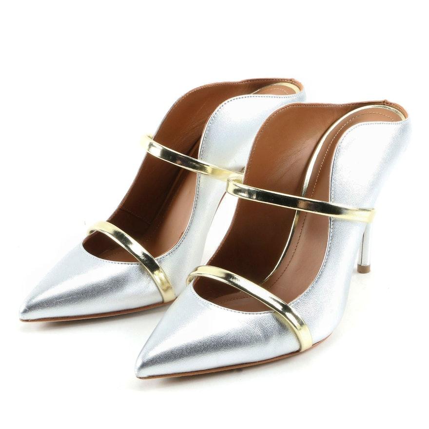 Malone Souliers Maureen Two-Tone Metallic Leather High Heel Mules