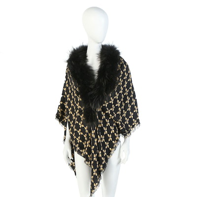 Fendi FF Logo and Diamond Pattern Shawl in Black Silk Wool with Fox Fur Trim