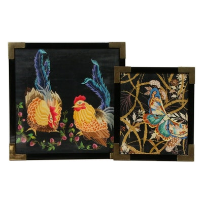 Needlepoint Panels of Chinese Style Chickens and Butterfly