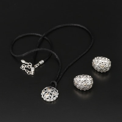 'Angela' by John Hardy Sterling Silver Earrings and Pendant with 14K Gold Accent