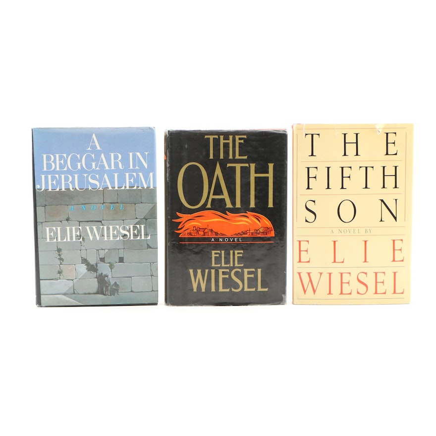 """Elie Wiesel Signed Books """"The Fifth Son"""", """"The Oath"""" and """"A Beggar in Jerusalem"""""""
