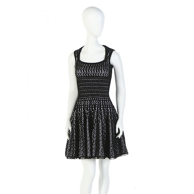 Alaïa of Paris Black Open Weave Wool Blend Knit Fit and Flare Sleeveless Dress