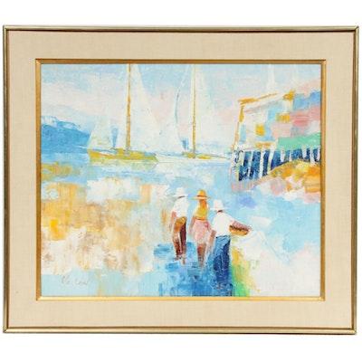 Vachon Impressionist Style Harbor Scene Oil Painting, Late 20th Century