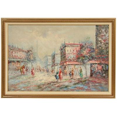 Busnelle Parisian Street Scene Oil Painting, Mid 20th Century