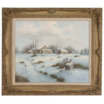 Roy Reece Landscape Oil Painting of Winter Scen