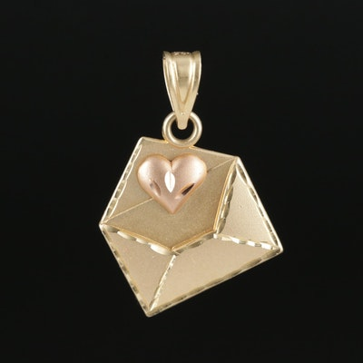 14K Yellow Gold Love Letter Pendant With 14K Rose Gold Accent