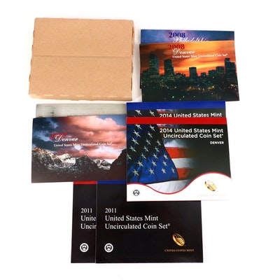 Five U.S. Mint Uncirculated Coin Sets