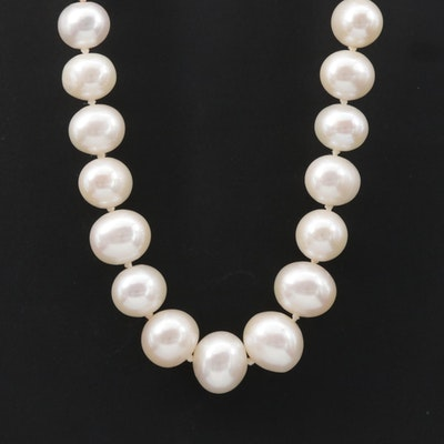 Knotted Single Strand Cultured Pearl Necklace with 14K Yellow Gold Clasp