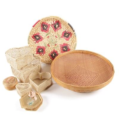 Hand-Woven Southwestern Style Large Coiled Raffia Tray with Bowl Basket and More