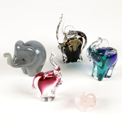 Langham Glass Gray Elephant and Other Glass and Quartz Elephant Paperweights