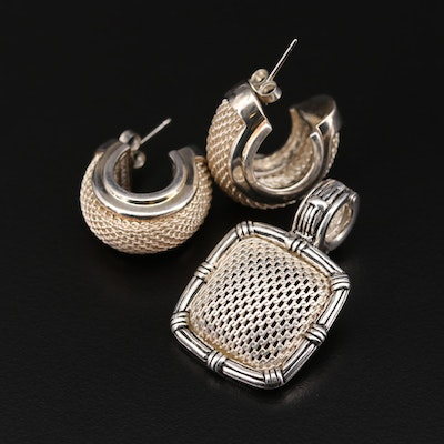 Joseph Esposito Sterling Mesh Earrings and Enhancer Pendant Set