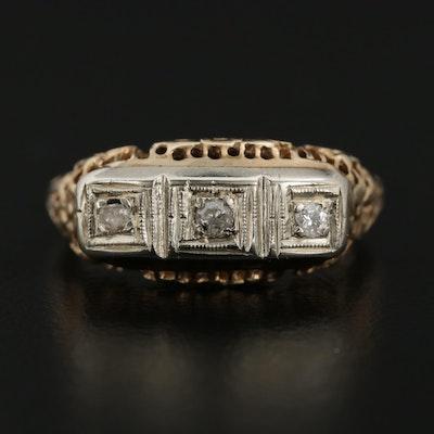 Vintage 14K Yellow Gold Diamond Ring with Filigree Design