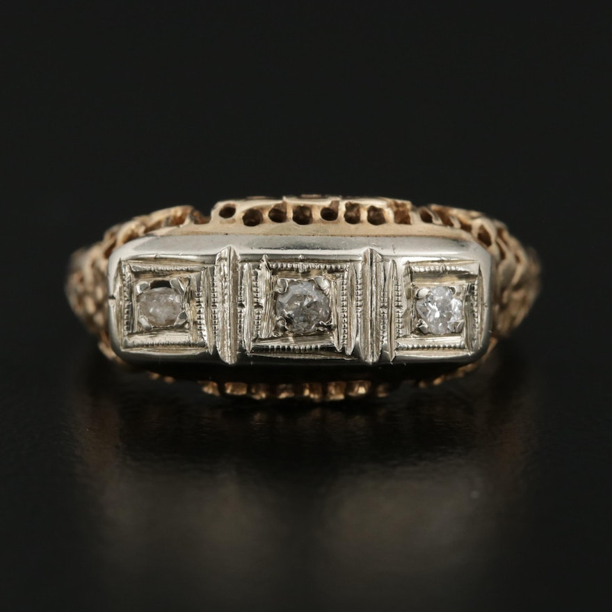 Vintage 14K Yellow Gold Diamond Ring with Filigree Design
