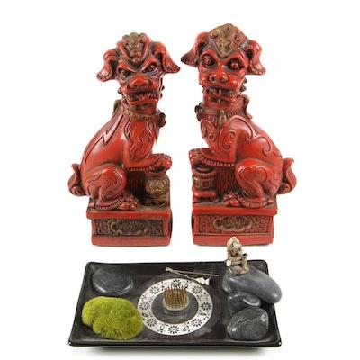 Japanese Resin Guardian Lions with Ikebana Zen Garden Tableau Figural Stone Vase