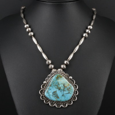Southwestern Sterling Silver Turquoise Stampwork Pendant Necklace