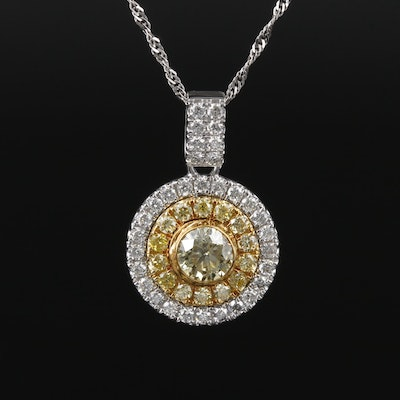 14K White Gold 2.11 CTW Diamond Pendant Necklace on Singapore Chain