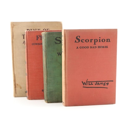 "Western Fiction Books Including First Edition ""Scorpion"" by Will James, 1936"