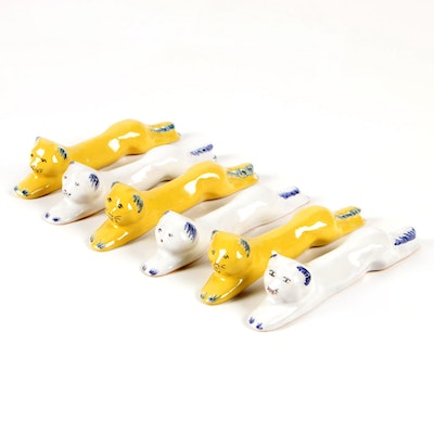 Glazed Terracotta Cat Form Knife Rests, Contemporary