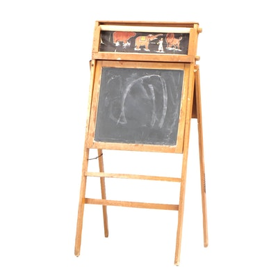 Vintage Child's Chalkboard Stand with Paper Circus Scroll, circa 1940