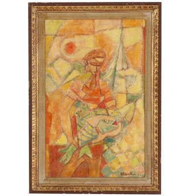 Harold Black Abstract Figural Oil Painting