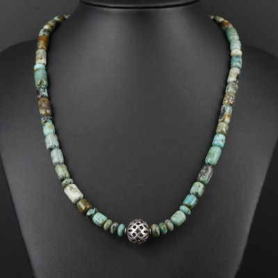 Sterling Silver Variscite Bead Necklace